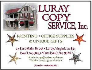 Luray Copy Service advertisement, supporter of Performing Arts Luray